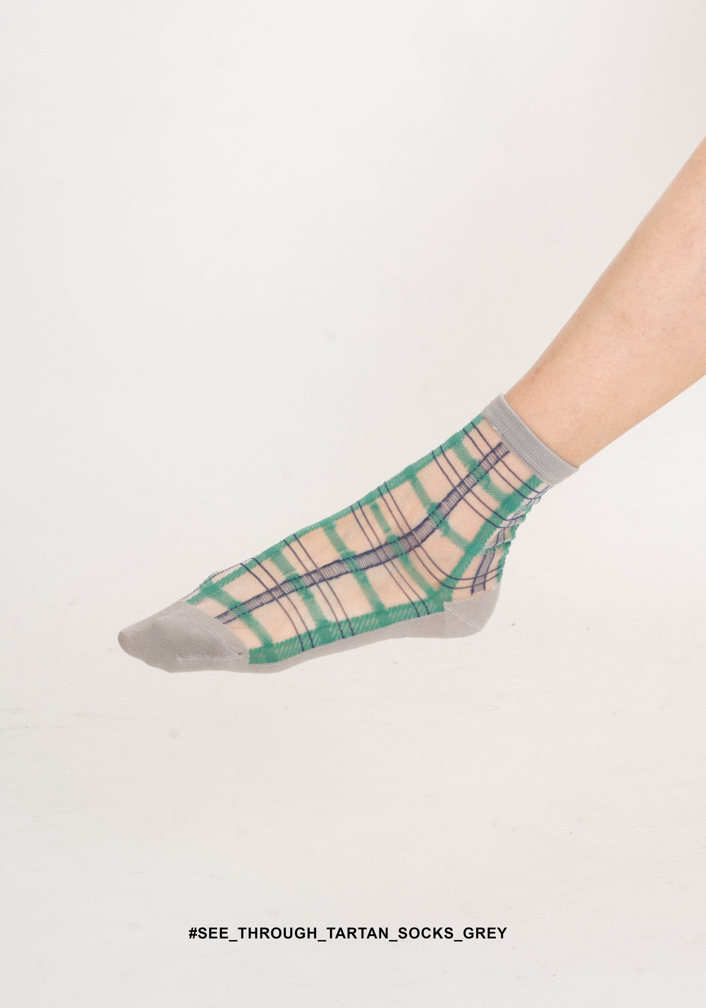 See Through Tartan Socks Grey - whoami