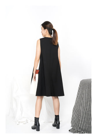 Side Pocket Two Tone Dress