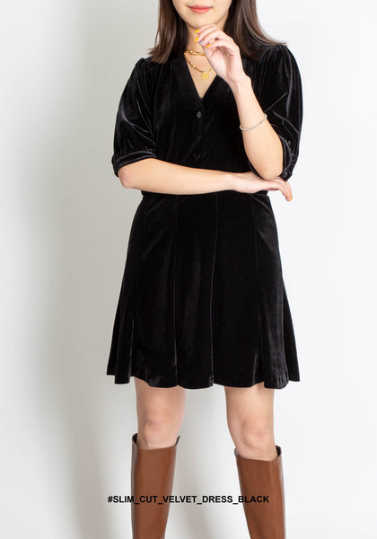 Slim Cut Velvet Dress Black - whoami