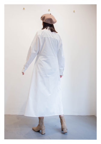 Slim Cut Shirt Dress White - whoami
