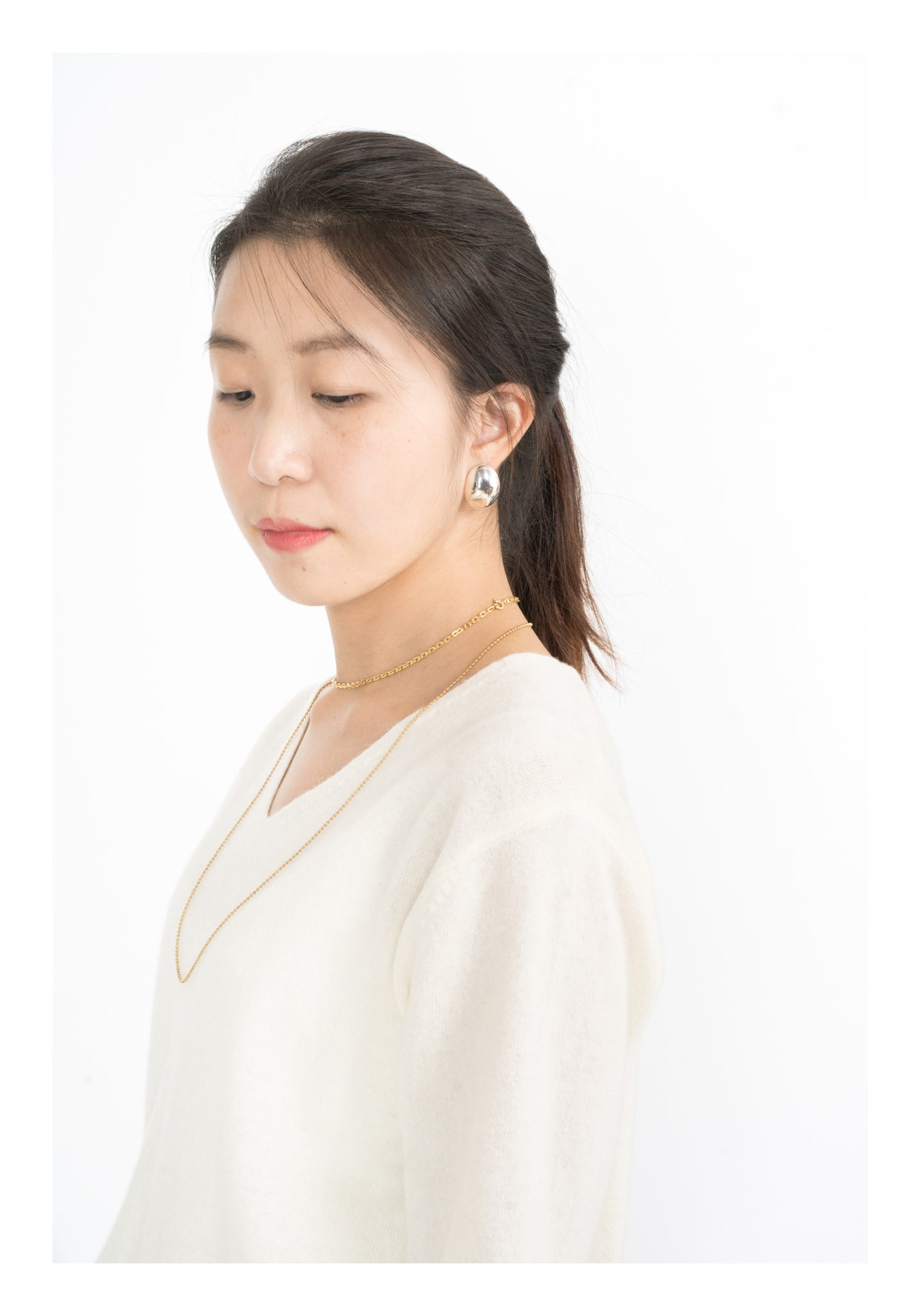 Soft Wool V Neck Top Ivory