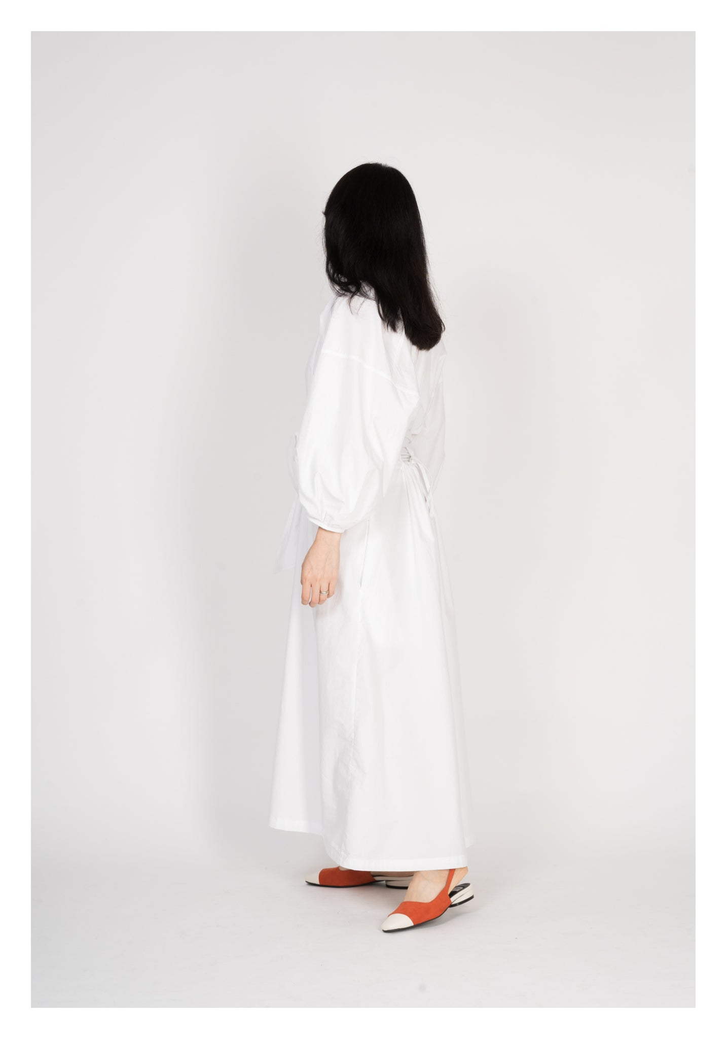 Structural Sleeve Open Back Dress White