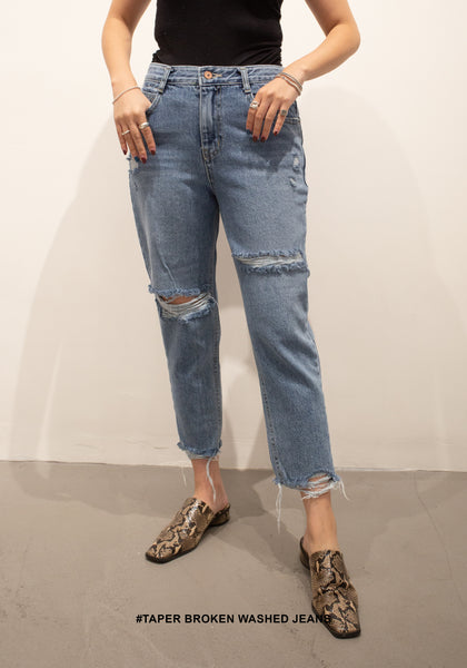 Taper Broken Washed Jeans - whoami