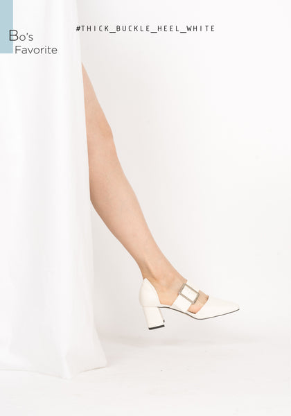 Thick Buckle Heels White