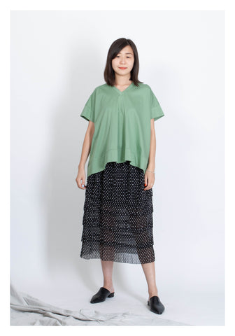 V Neck Cape Tee Green - whoami