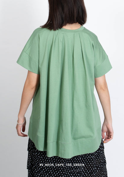 V Neck Cape Tee Green