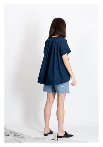 V Neck Cape Tee Navy