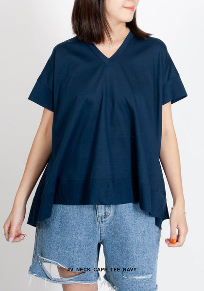 V Neck Cape Tee Navy - whoami