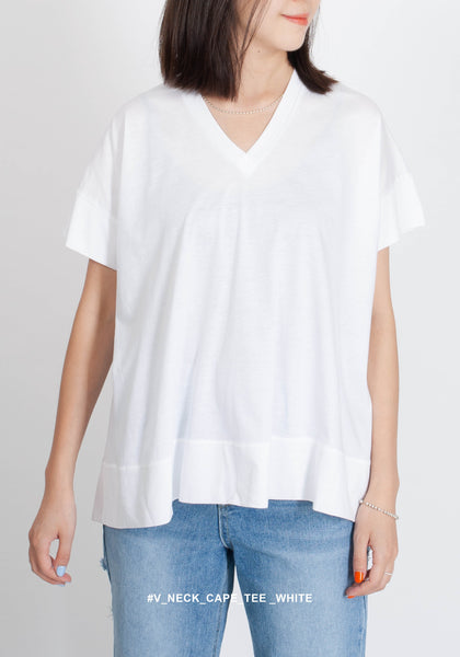 V Neck Cape Tee White