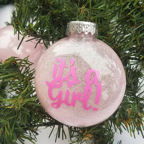 It's a Girl Glitter Christmas Ornament - A Little Lady And Me