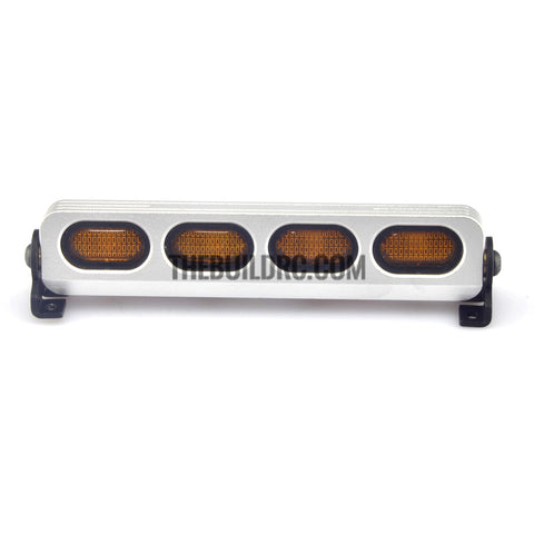 RC 1/10 1/8 LED Light Bar with Round Yellow Lenses -5 flashing Modes - Silver Aluminum Frame