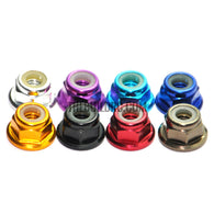 1 Pcs M4 Aluminum Flanged Nylon Lock Nut -Sliver