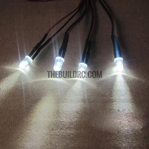 Set of 4 5mm LED Light for 1/10  RC Car Red