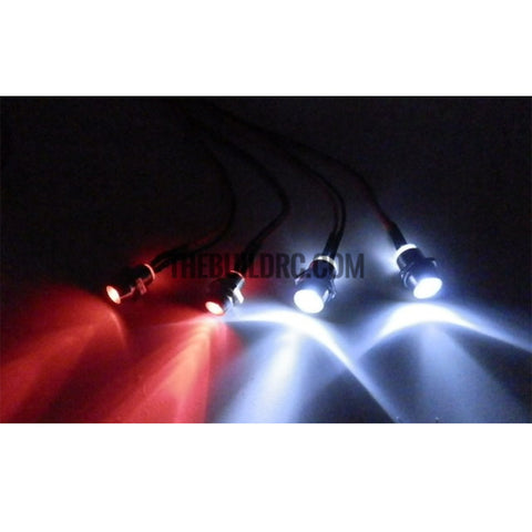 Ser of 2 White 5mm and set of 2 Red 3mm LED Light for 1/10  RC Car