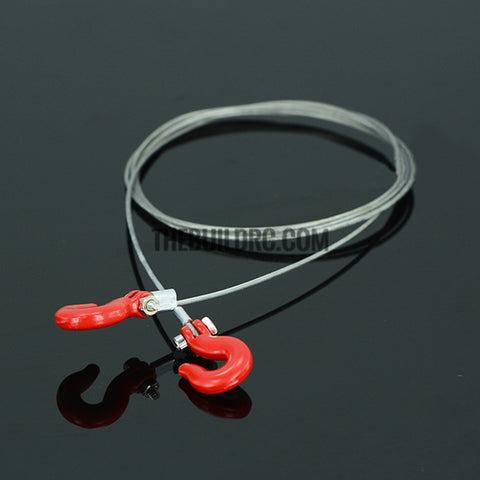 1/10 RC Crawler Steel Tow Rope with Hooks for SCX10 Wraith Axial D90