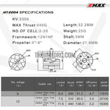Emax Original Mt2204 2300kv Brushless Motor For Qav250 F330 Quadcopter - CW white cap nut