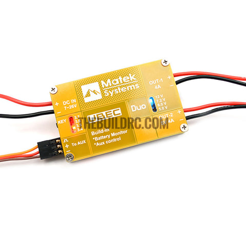 Matek UBEC 4A/5-12V Duo Output Built-in Battery Monitor Aux RX FLIGHT Control