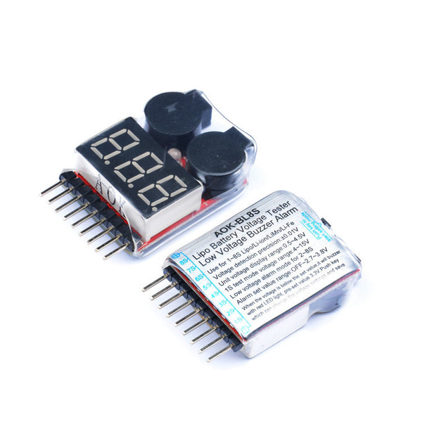 AOK-BL8S 1-8S 2in1 RC Li-ion Lipo Battery Low Voltage Meter Tester Buzzer Alarm