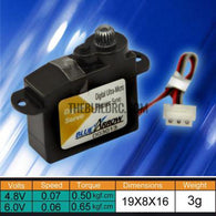 Blue Arrow 3g High Speed Digital MG Micro Servo .50kg / .06sec/60deg (CCW)