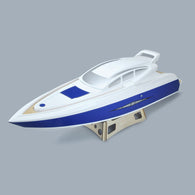 "37"" RC EP Epoxy Fiberglass Princess Scale Cruiser ARR Boat Hull (Hardware Pre-installed) - White / Blue"