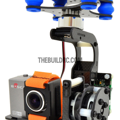 3 Axis Upgraded FPV Camera Mount Gimbal With 2208kv Brushless Motors & Controller for Gopro3 Aerial - Carbon Fiber (~245g)
