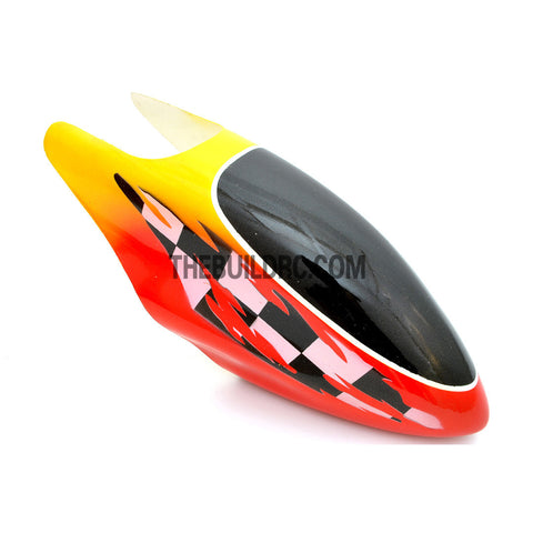 450 Fiberglass Helicopter Fuselage Canopy - Black/Red/Yellow (Checkered)