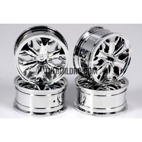 1/10 RC Car Hip-hop Style Metallic Plate Silver Wheel Set D - Silver