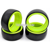 1/10 RC Car Hard Plastic DRIFT Tires with insert Wheel (4pcs) - Green