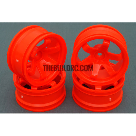 1/10 RC Car 6 Spoke 9mm Offset 26mm Drift Wheel Rim Set - Orange