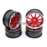 1/10 RC Car 10 Spoke 3mm Offset Drift 26mm Wheel Rim Set - Red / Silver