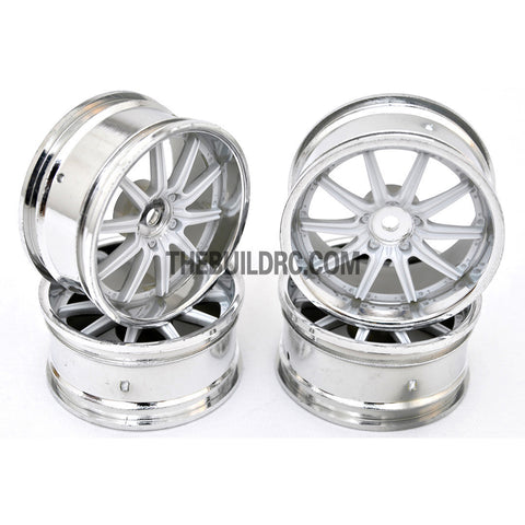 1/10 RC Car 10 Spoke 3mm Offset Drift 26mm Wheel Rim Set - Silver / White