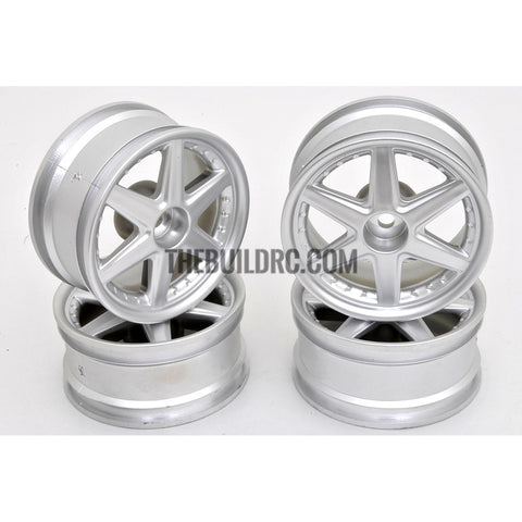 1/10 RC Car 6 Spoke 3mm Offset Drift 26mm Wheel Rim Set - Silver