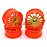 1/10 RC Car 14 Spoke 3mm Offset Drift 26mm Wheel Rim Set - Gold / Orange
