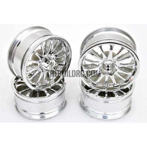 1/10 RC Car 14 Spoke 3mm Offset Drift 26mm Wheel Rim Set - Silver
