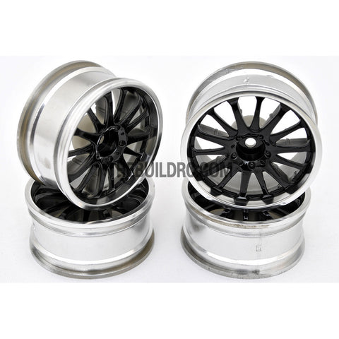 1/10 RC Car 14 Spoke 3mm Offset Drift 26mm Wheel Rim Set - Silver / Black