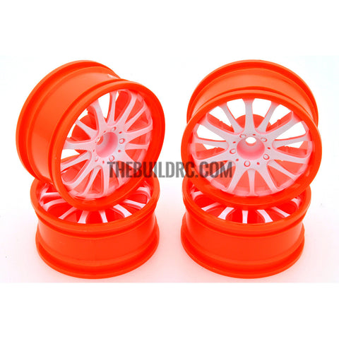 1/10 RC Car 14 Spoke 3mm Offset Drift 26mm Wheel Rim Set - White / Orange
