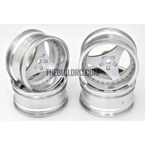 1/10 RC Car 3 Spoke 6mm Offset Drift 26mm Wheel Rim Set - Silver / White (Spoke)