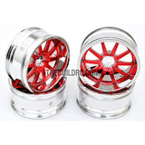 1/10 RC Car 10 Spoke 6mm Offset 26mm Drift Wheel Rim Set - Red