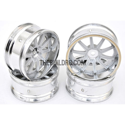 1/10 RC Car 10 Spoke 6mm Offset 26mm Drift Wheel Rim Set - White