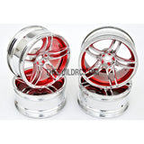 1/10 RC Car 10 Spoke 6mm Offset Sporty Wheel 4pcs - Red