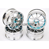 1/10 RC Car 12 Spoke 3mm Offset Drift 26mm Wheel Rim Set - Light Blue
