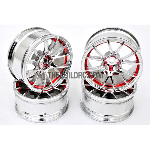 1/10 RC Car 12 Spoke 6mm Offset Drift 26mm Wheel Rim Set - Red