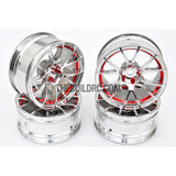 1/10 RC Car 12 Spoke 9mm Offset Drift 26mm Wheel Rim Set - Red