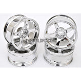 1/10 RC Car 5 Spoke 6mm Offset 26mm Drift Wheel Rim Set - Silver