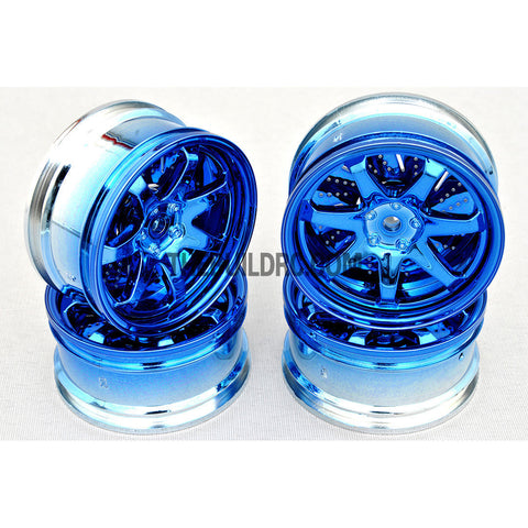 1/10 RC Car 26mm Metallic Plate 7 Removeable Spoke Wheel 4pcs - Blue