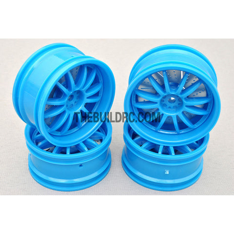1/10 RC Car 26mm 12 Removeable Spoke 2mm Offset DRIFT Sporty Wheel 4pcs - Blue
