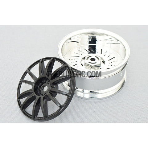 1/10 RC Car 26mm 12 Removeable Spoke 2mm Offset DRIFT Sporty Wheel 4pcs - Silver / Black