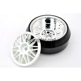 1/10 RC Car 20 Spoke 3mm Offset DRIFT Sporty Wheel with Diamond Irregular Cut DRIFT Tyres / Tires 4pcs - White