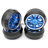 1/10 RC Car 12 Spoke 3mm Offset DRIFT Sporty Wheel with Diamond Irregular Cut DRIFT Tyres / Tires 4pcs - Blue