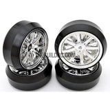 1/10 RC Car 12 Spoke 3mm Offset DRIFT Sporty Wheel with Diamond Irregular Cut DRIFT Tyres / Tires 4pcs - Silver